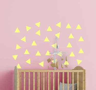 Pegatinas infantiles de  de color personalizables con forma de triángulo. Apto para cualquier superficie plana: puertas, muebles, etc.