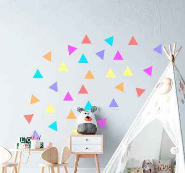 Amazing multi coloured triangle shapes sticker for children room. The deign contains about 30 different coloured small triangles.