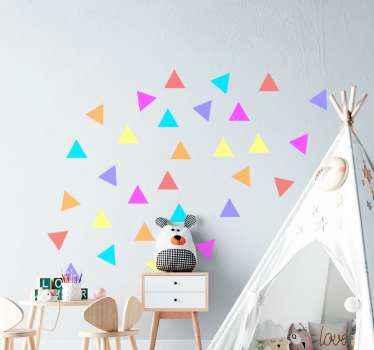 Increíble vinilo infantil multicolor con formas triangulares para habitación infantil. Elige las medidas que desees ¡Envío exprés!