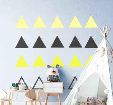 Vinilo infantil de triángulos amarillos y negros. Haga que la habitación de su bebé o niño pequeño sea colorida ¡Envío exprés!