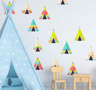 Amazing triangle shape tent sticker designed in pretty colours. This design suit for children bedroom wall and it can be applied on furniture, window.