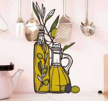 αυτοκόλλητο τροφίμων για ελαιόλαδο για διακόσμηση κουζίνας. μπορείτε να κολλήσετε αυτό το σχέδιο σε έναν τοίχο ή ένα ντουλάπι σε μια κουζίνα. εύκολο στην εφαρμογή και ανθεκτικό.