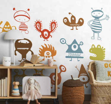 Kids Wall Stickers - Collection of aliens and friendly monsters to invade the bedrooms and play areas of children. Playful and fun designs.