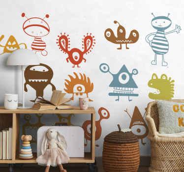 Gruppe av aliens monster klistremerke