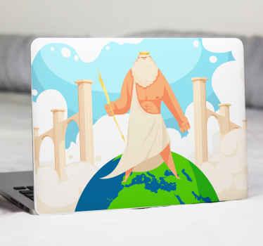 Vinilo para laptop con dibujo de un dios griego sobre el mundo para que decores tu ordenador a tu gusto. Elige modelo ¡Envío exprés!