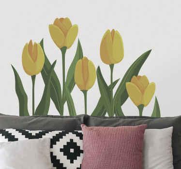 寝室のヘッドボード用の素晴らしい装飾的な黄色のチューリップの花の壁のステッカー。あなたの家のあらゆる部分に適しており、粘着性があり、簡単に塗ることができます。