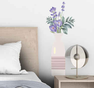 Vase with crocuses flower wall sticker.  A realistic and original design to beautify any space of your choice in with a lovely touch.