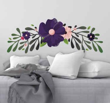 野の花飾り花ウォールステッカー。家や他の場所であなたが選んだスペースを飾るためのかわいいデザイン。