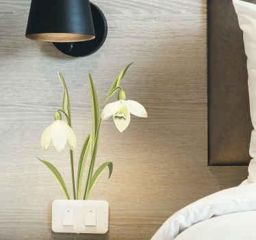 壁、ライトスイッチエリア、家具、ドア、窓などを飾るための装飾的なスノードロップ植物の花の壁のステッカーは、必要な任意のサイズで利用できます。