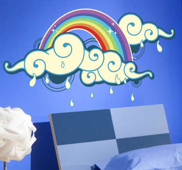 A rainbow design to decorate your child's room. A fantastic decal from our collection of rainbow wall stickers ideal for the little ones.