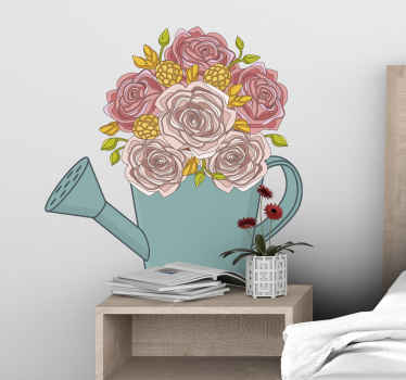Decorative vintage watering can with rose flower sticker. Lovely design to decorate any part of the home. It is original and easy to apply.