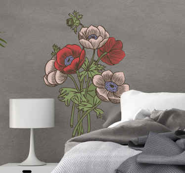 Pretty flower sticker design  for a living room. Give a touch of newness to your space with our amazing  flower wall art decal.