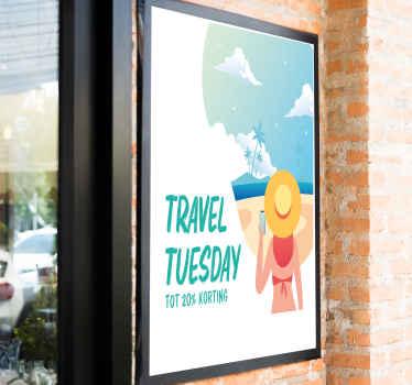 Pas uw eigen prijs aan op deze travel Tuesday promo deals raamsticker. Ben een geweldig ontwerp dat een dame op vakantie op een strand illustreert.