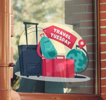 Travel Tuesday sticker voor etalage. Ontwerp van reisbagagezakken met label en wereldbol. De tag is aanpasbaar met uw eigen tekst.