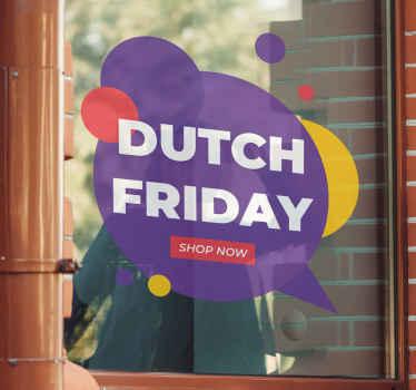 Decoratieve Dutch Friday raamsticker. Kleurrijk achtergrond ontwerp met tekst, het is heel gemakkelijk op het oppervlak te plakken en het kan gemakkelijk worden verwijderd.