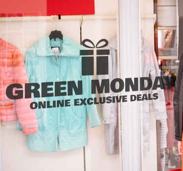 A green Monday online exclusive deals sticker to make everyone aware of your discounts on your store for this special day.