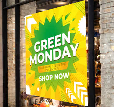 Een green Monday winkel nu zelfklevende sticker met verschillende kleuren om iedereen te laten weten dat u de beste kortingen op groene dag hebt. Kwalitatief hoogwaardig product!