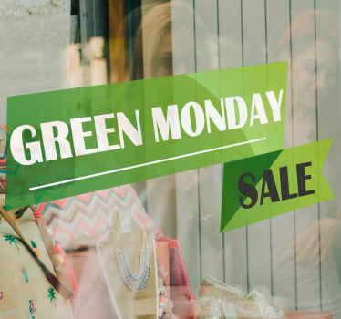 Laat iedereen weten met deze groene green Monday sticker op een groene achtergrond dat u kortingen op deze dag heeft. Wereldwijde levering!