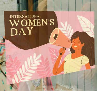 Een roze internationale vrouwendag zelfklevende sticker voor een bril op een roze achtergrond met bladeren en een vrouw om elke gewenste ruimte op deze speciale dag te versieren.