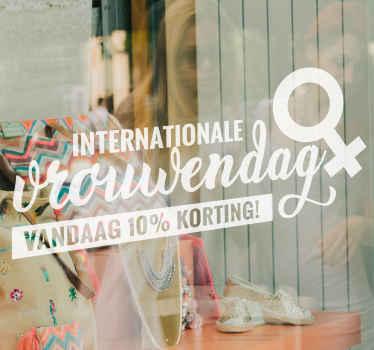 Internationale vrouwendag verkoop sticker voor uw bedrijfsruimte. Een eenvoudig tekstontwerp met het logo van de dag van de vrouw aanpasbaar in kleuropties.