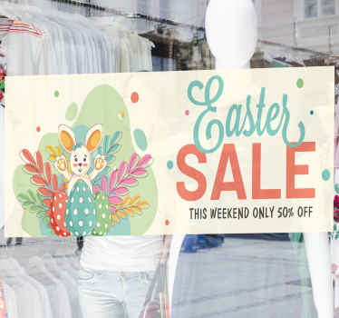 Customize your own price on this Easter sales decal on the provided field. Beautiful design of a happy bunny with eggs and Easter promo text.