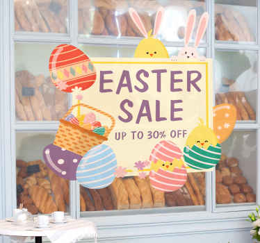 Customizable Easter sales sticker to decorate a business place for sales promotion. The design contains bunnies, Easter eggs and basket of goodies.