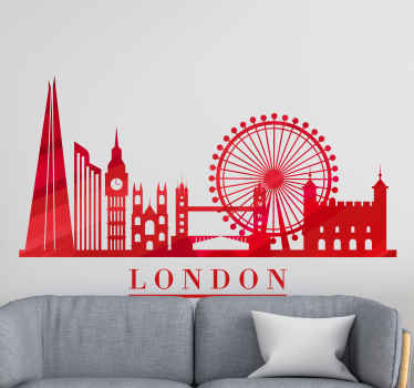 Beautiful London iconic sticker design created in red colour. This design would be lovely for a living room, office and other spaces you prefer.