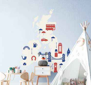 Detailed illustrative U.K iconic decal for children room. Decorate the room of your kid with this design containing map, famous bridge, bus and more.