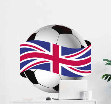 Decorative realistic football sticker wrapped with a union jack. An illustration of football game of the U.K.. Original and easy to apply.