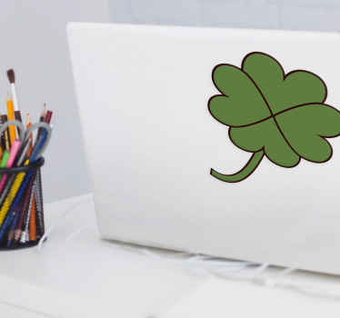 Clover plant sticker for laptop. Enhance the look on your laptop with our pretty clover shape plant decal for laptop. Original and easy to apply.