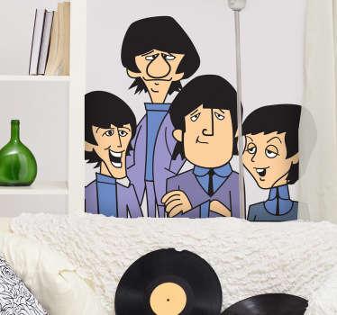 Ilustración en vinilo con aire de caricatura de los cuatro músicos de Liverpool: George, Paul, John y Ringo.