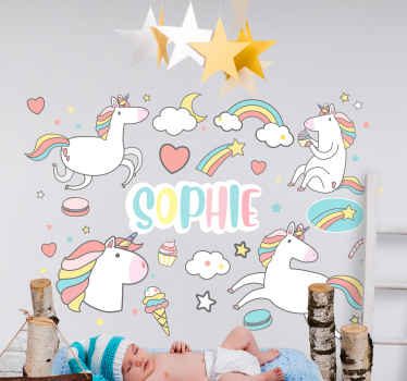 Customizable name unicorn sticker for kids. The design contains different illustration of unicorns and rainbow with cloud.