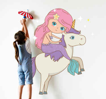 Children Hollywood fairy story inspired sticker. Illustration of a mermaid riding on a unicorn. Original, durable and easy to stick on any surface.