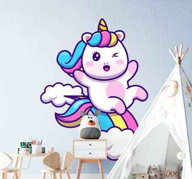 Decorative baby unicorn in a cloud with rainbow movie sticker. Ideal for children room and other rooms in a house too. Available in any size needed.