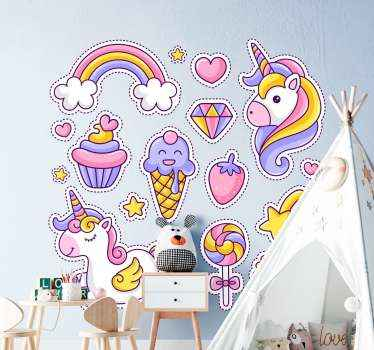 Pretty illustrations of rainbow and unicorn decal for children. It contains different illustrations in form of cupcakes, ice-cream, candy and more.