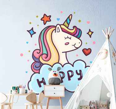 Decorative drawing illustration sticker of a unicorn ideal for children room. A happy unicorn illustrated with a text inscriptions.