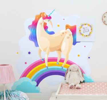 Sticker design of a unicorn on a rainbow. An interesting and fun fantasy decal ideal  for children. It is original and available in any required size.