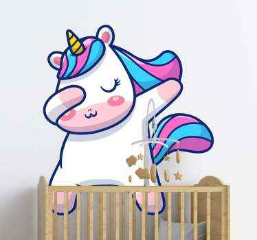 Cute baby unicorn sticker design to amuse your kid. Fun and interesting looking design of a baby unicorn making the dab style with the hands.