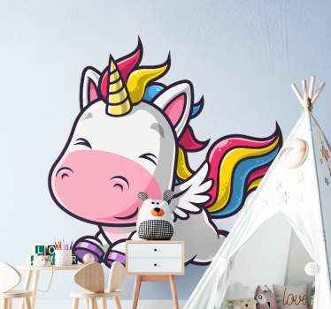 This fairy fantasy unicorn design sticker can be your kid's bedroom decoration. Little cute illustration of a unicorn with multicolored hair.