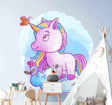 Ta med den eventyrfantastiske historien om en enhjørning til soverommet til ungen din med vår fantastiske illustrasjonsdekal av en fargerik enhjørning.