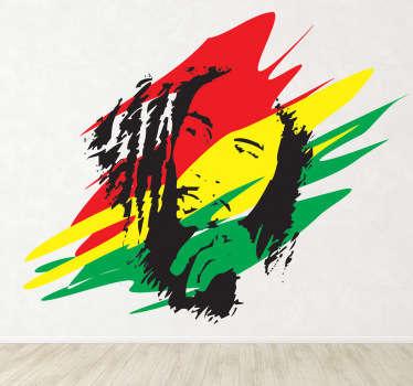 Adesivo murale raffigurante la silhouette del piú famoso cantante reggae di tutti i tempi, con al fondo i colori della bandiera giamaicana.