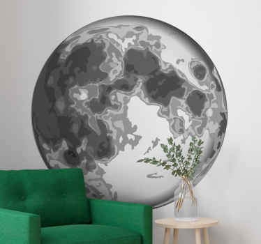 Realistic gray moon abstract wall sticker. This design would be prefect for a living room, an office space and other spaces of your choice.
