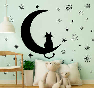 Purchase our space theme sticker of a cat sitting peacefully on a moon with the stars. The design is customizable in different colour options.
