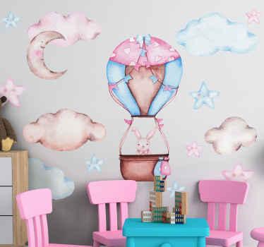 Vinilo decorativo para niñas de conejito en globo rodeado de nubes y la luna en tonos rosas. Elige las medidas ¡Descuentos disponibles!