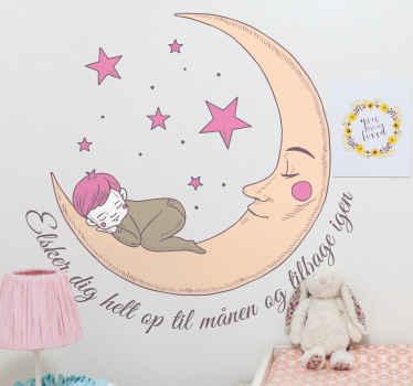 Söt liten baby som sover på månen. Måndesignen illustreras med en mors ansikte, tillsammans med den är färgglada stjärnor och citat.