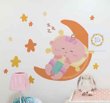 星と月に染み出る小さなかわいい赤ちゃんのデザインの装飾的な子供スペースのテーマデカール。オリジナルで耐久性があり、簡単に適用できます。