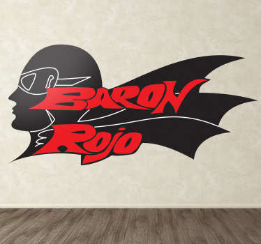 Pegatina con el característico logo de esta banda heavy clásica del metal español representada por un aviador alemán.
