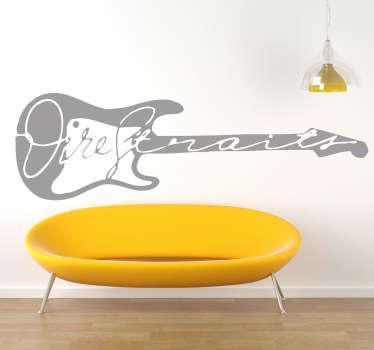 Naklejka dekoracyjna z logiem brytyjskiej grupy rockowej Dire Straits. Naklejka ścienna rock jako ozdoba na ścianę do salonu.