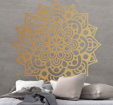 Luxury arabesque mandala floral wall sticker. Let your home be presented with an ornamental effect with our golden colour ornamental mandala decal.