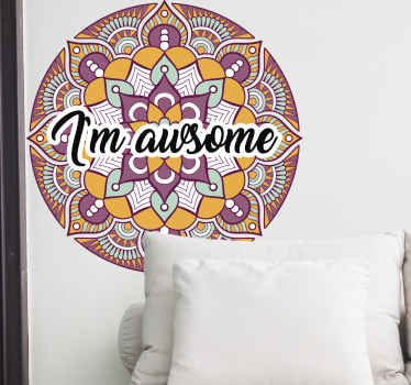 Feather pattern mandala sticker with text inscription. Lovely design to beautify any space in a house and it is really easy to apply.